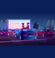 outdoor cinema open air movie theater with cars vector image vector image