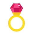 Precious ring with stone colored gems isolated on vector image vector image