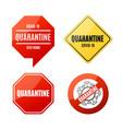 realistic detailed 3d quarantine sign set vector image