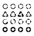 recycling icons black circle arrows environmental vector image