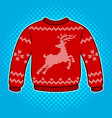 red sweater with deer pop art vector image vector image