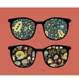 Retro sunglasses with reflection in it vector image vector image