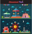 Set of flat design composition with amusement park vector image vector image