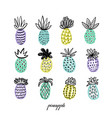 set of pineapples hand drawn decorative pinapple vector image