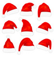 set red santa claus hats with fur vector image