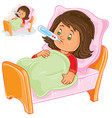 sick little girl lies in bed with a vector image vector image