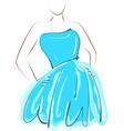 Sketch girl blue dress