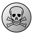 Skull and bones danger sign button vector image vector image