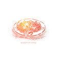 spaghetti with shrimps boiled noodles vector image