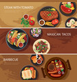 street food web banner steak tacos bbq vector image vector image