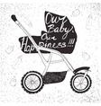 stroller with lettering Our baby our happiness vector image vector image