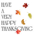 thanksgiving typography graphic with falling leave vector image vector image