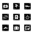 Tourism at sea icons set grunge style vector image vector image