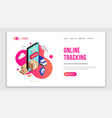 tracking isometric fluid concept smartphone web vector image vector image