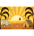 Tropical Island Campsite with Traveler Truck vector image vector image