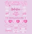 valentines day galentines day female party set vector image vector image