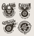 vintage monochrome custom motorcycle labels vector image vector image
