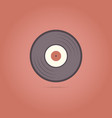 vinyl record icon on a red background vector image vector image