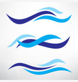 water wave set stylized symbols design vector image