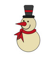 white background with snowman with scarf and hat vector image vector image