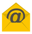 yellow envelope with email sign icon isolated vector image
