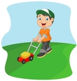 Young man cutting grass with a push lawn mower vector image
