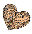 zentangle hand drawn heart text you are invited vector image vector image