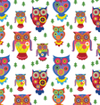 seamless owls pattern 2 vector image