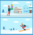 skier and man holding presents vector image