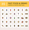 35 fast food set with colorful icons vector image vector image