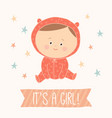 baby shower card for baby girl cute baby girl vector image vector image