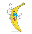 banana in sunglases have vacation rest and thumb vector image