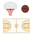 Basketball ball hoop and court vector image vector image