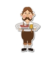 bavarian man with beer and sausage icon vector image vector image