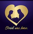 birth christ and manger golden heart vector image
