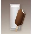 Bitten Ice Cream in Chocolate Glaze on Stick vector image vector image