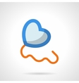 Blue heart balloon flat color icon vector image