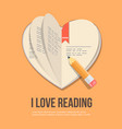 book in the shape of a heart flat icon vector image