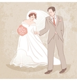 bride and groom on grungy background vector image vector image