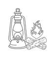 campfire camping and kerosene lantern vector image