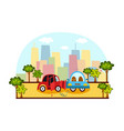 car accident side collision on city street vector image