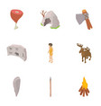 cave life icons set isometric style vector image vector image