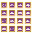 cloud icons set purple square vector image vector image
