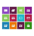 Credit card icons on color background vector image vector image