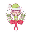 cute santa helper with wreath and bow vector image