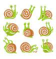 cute snail character set funny mollusk vector image vector image
