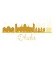 Dhaka City skyline golden silhouette vector image vector image