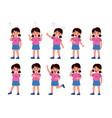 girl emotions set emotional kid character vector image vector image
