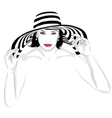 Girl with dark hair in big striped hat vector image