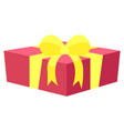 greeting card with present box and ribbon vector image vector image